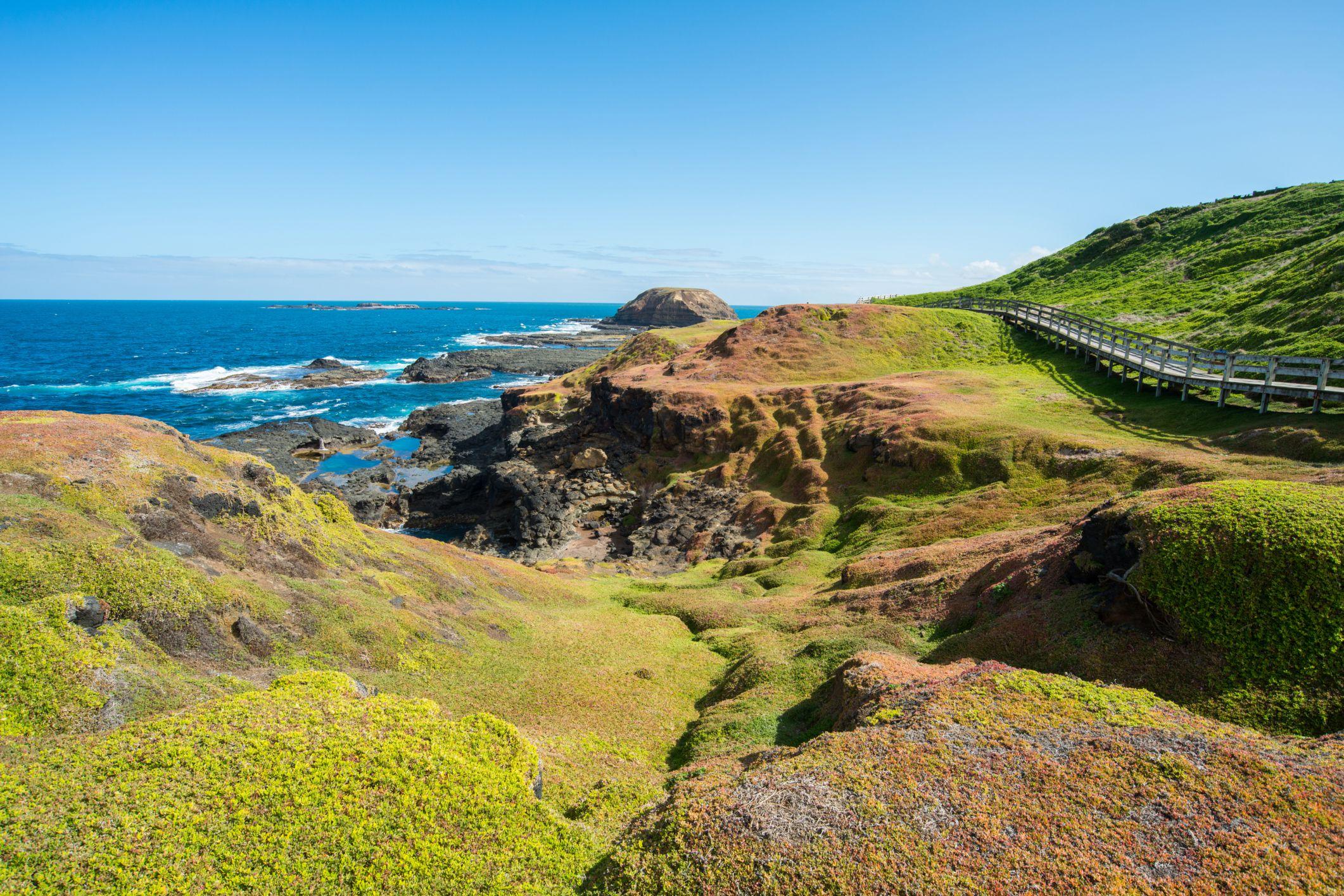 The Nobbies landscape of Phillip Island, Australia.
