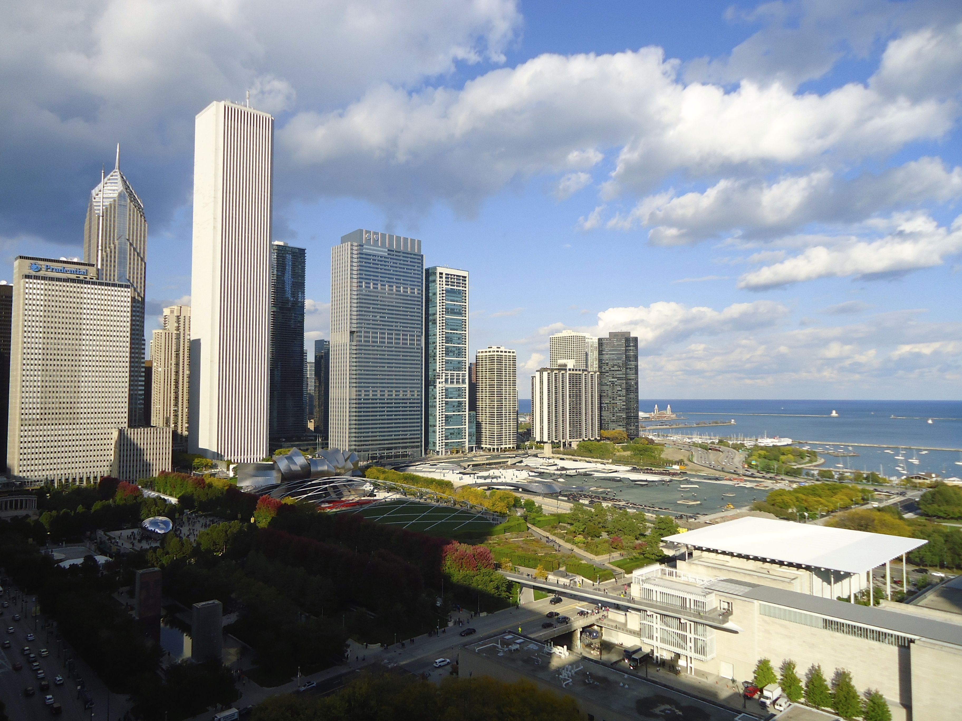 Elevated view of Millennium Park, Lake Michigan in background