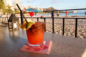 Mai tai cocktail on a table in Hawaii.