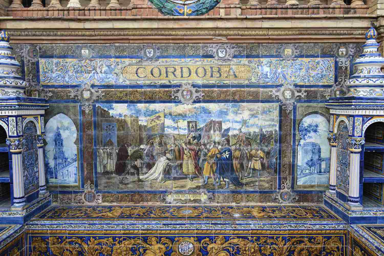 Bench in Seville's Plaza de España