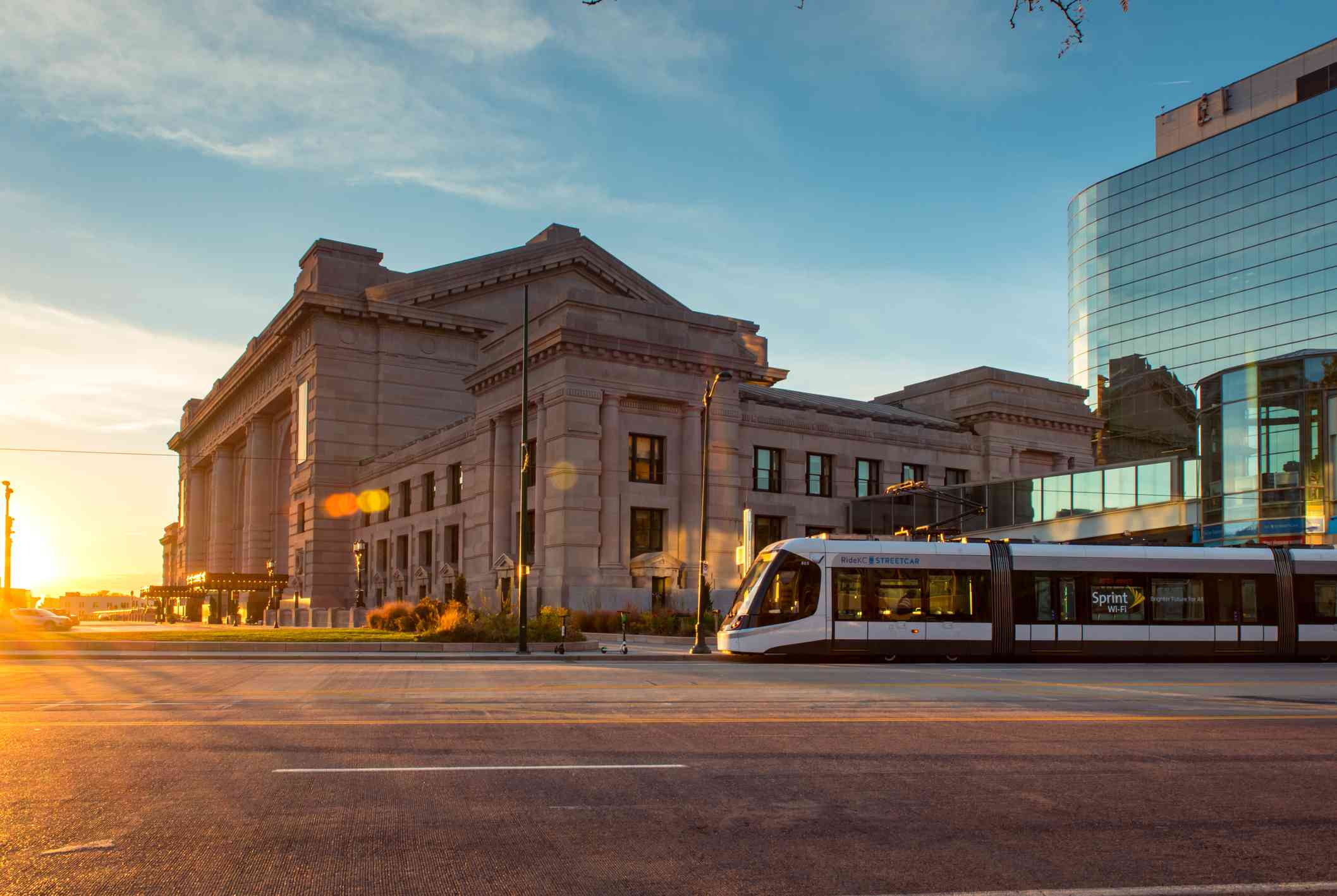 Kansas City Streetcar in front of Union Station at sunset