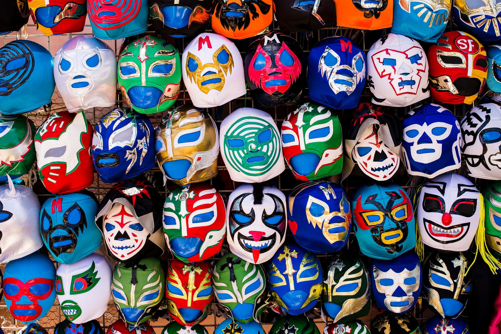 Luchador masks for sale in San Francisco's Mision District
