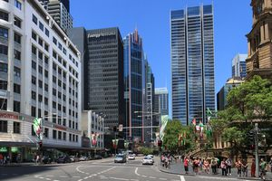 George Street Sydney with the town hall on the right