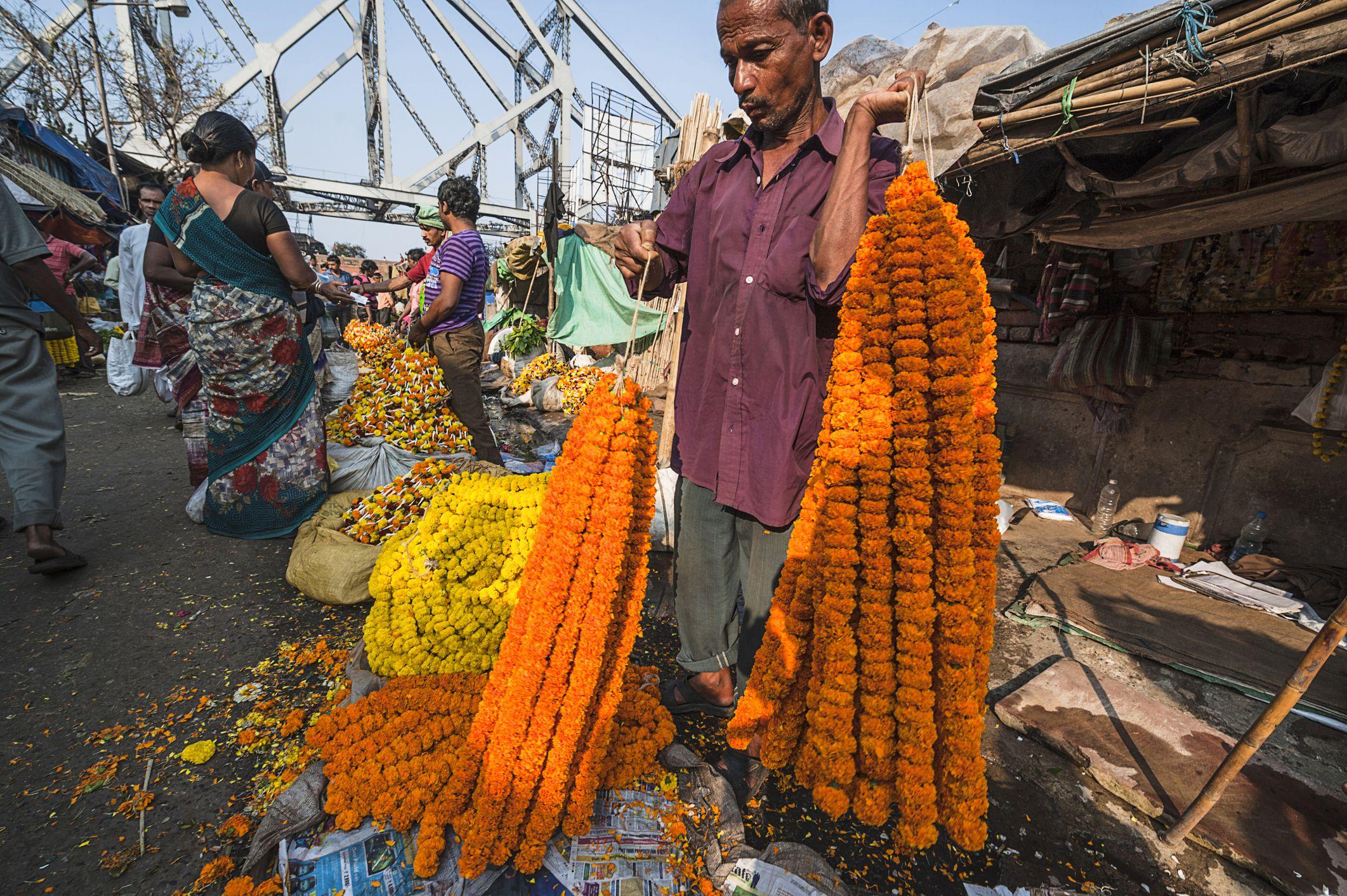 Seller at Kolkata flower market.
