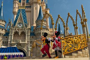Mickey Mouse and Minnie Mouse perform in front of the Cinderella Castle