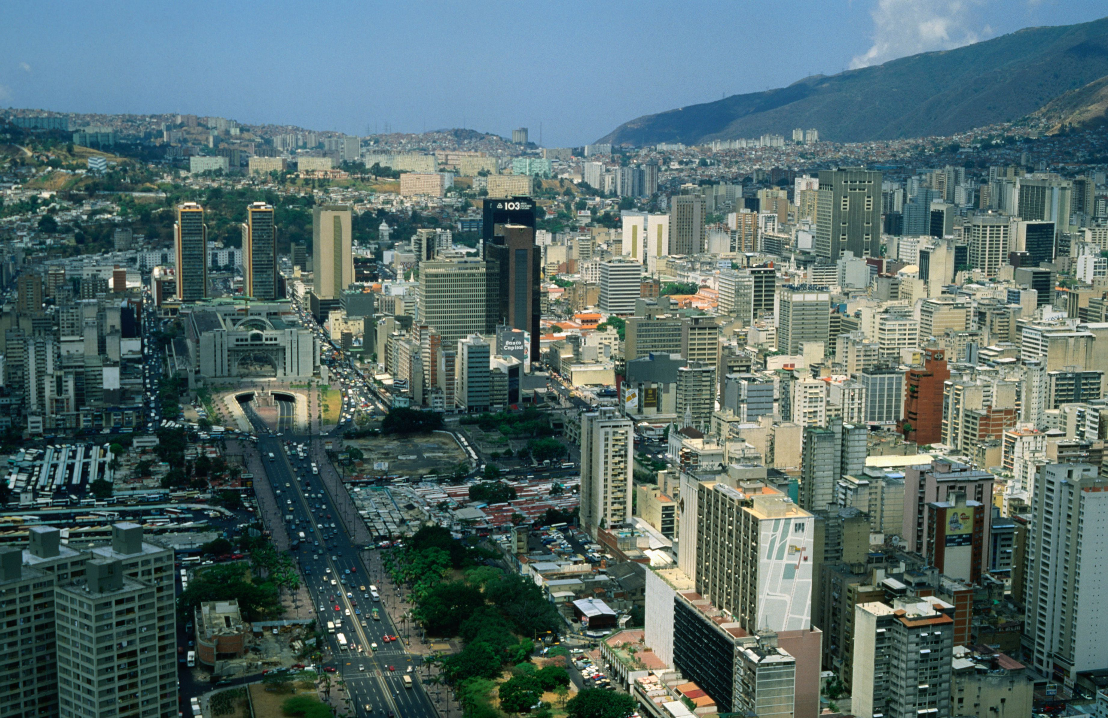 View of downtown Caracas, a valley of skyscrapers.