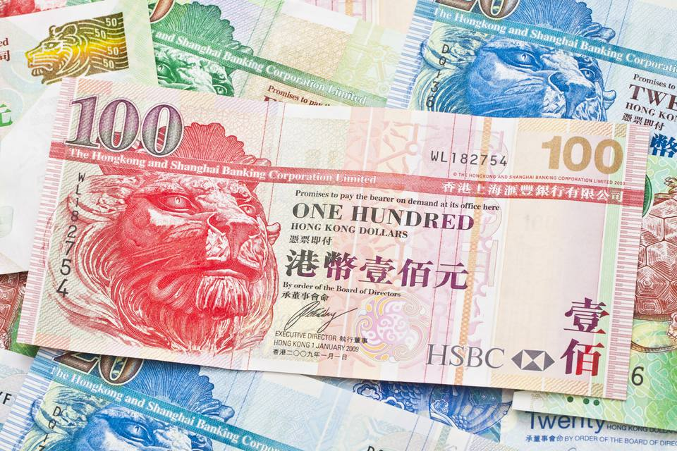 A close-up of Hong Kong Dollars in a pile
