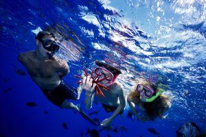 Hawaii closeup family snorkeling at surface, boy holds pencil urchin and reflections, Molokini