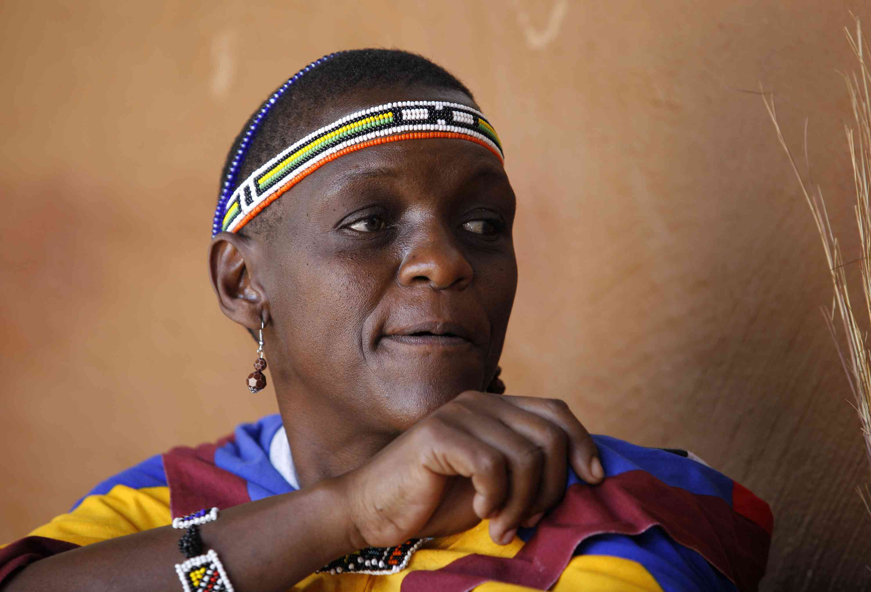 Ndebele woman in traditional costume