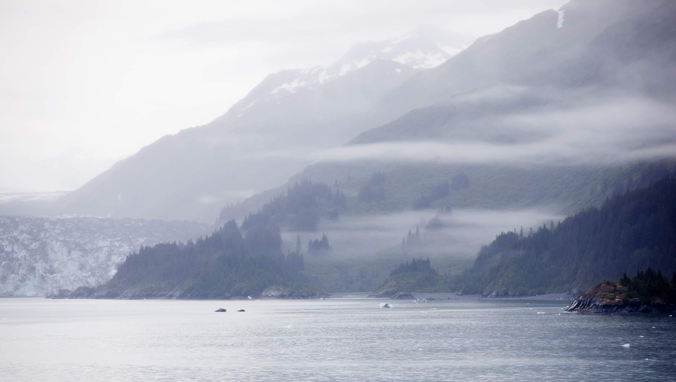Misty Alaskan landscape in Yakutat Bay near Hubbard Glacier. The ice face of the glacier can be seen to the left of the image.