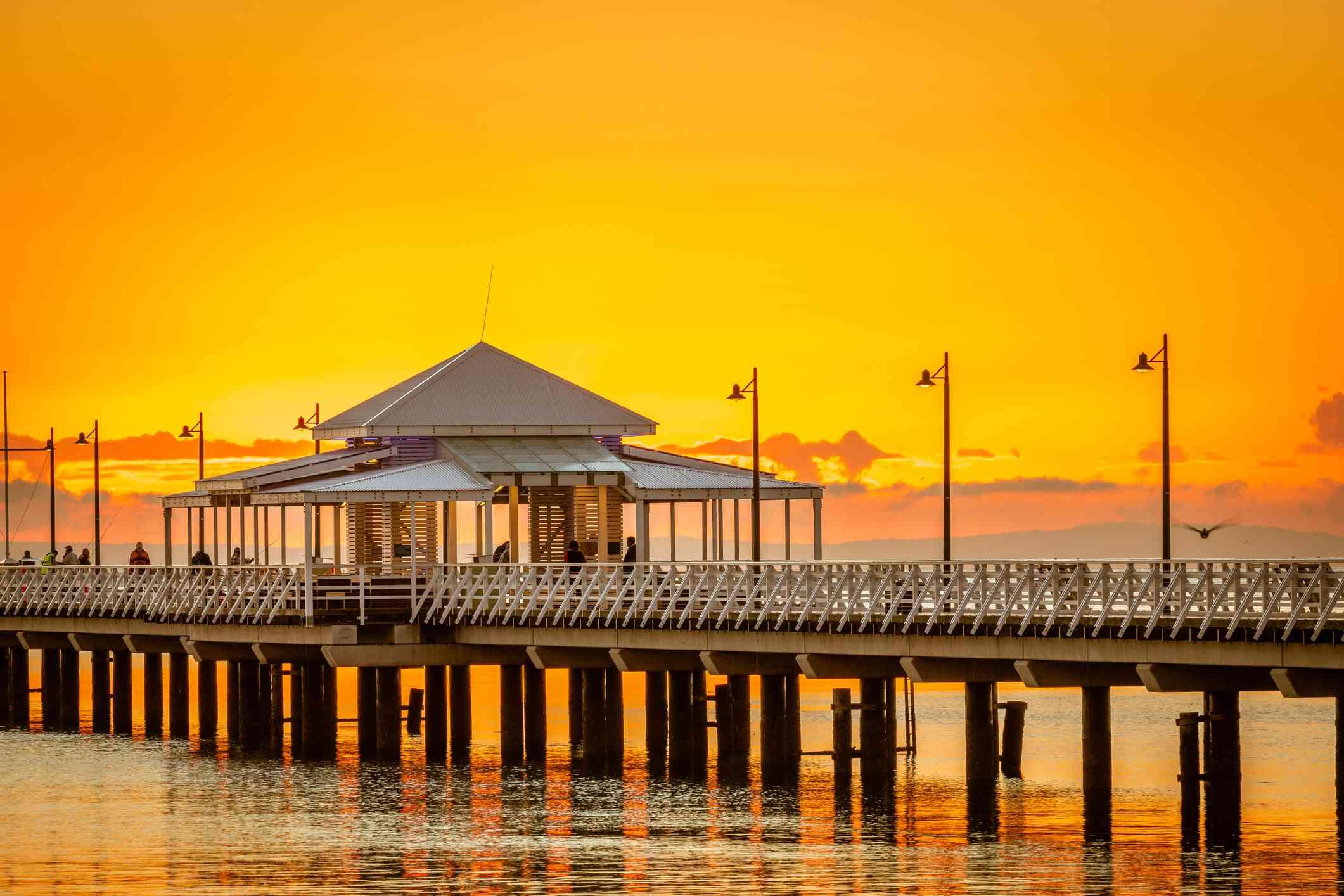 Orange sunset behind Shorncliffe pier