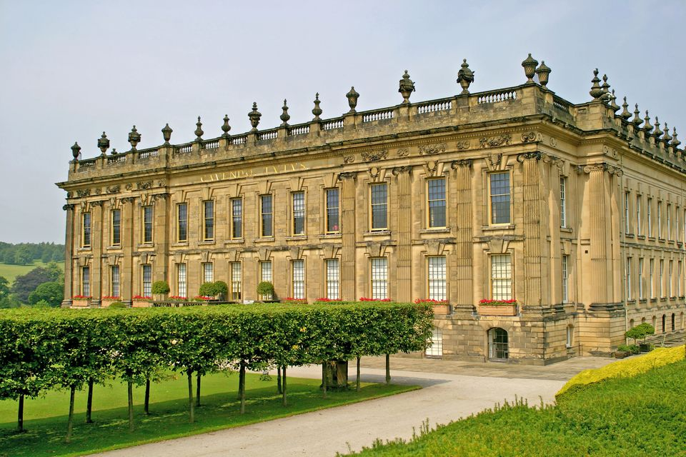 Chatsworth House In All Its Splendor Near Bakewell Derbyshire