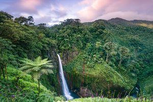 High angle view of Catarata del Toro waterfall at sunset, Costa Rica