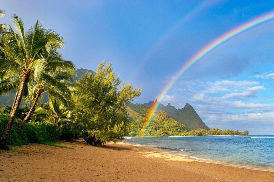 A rainbow at Kauai beach