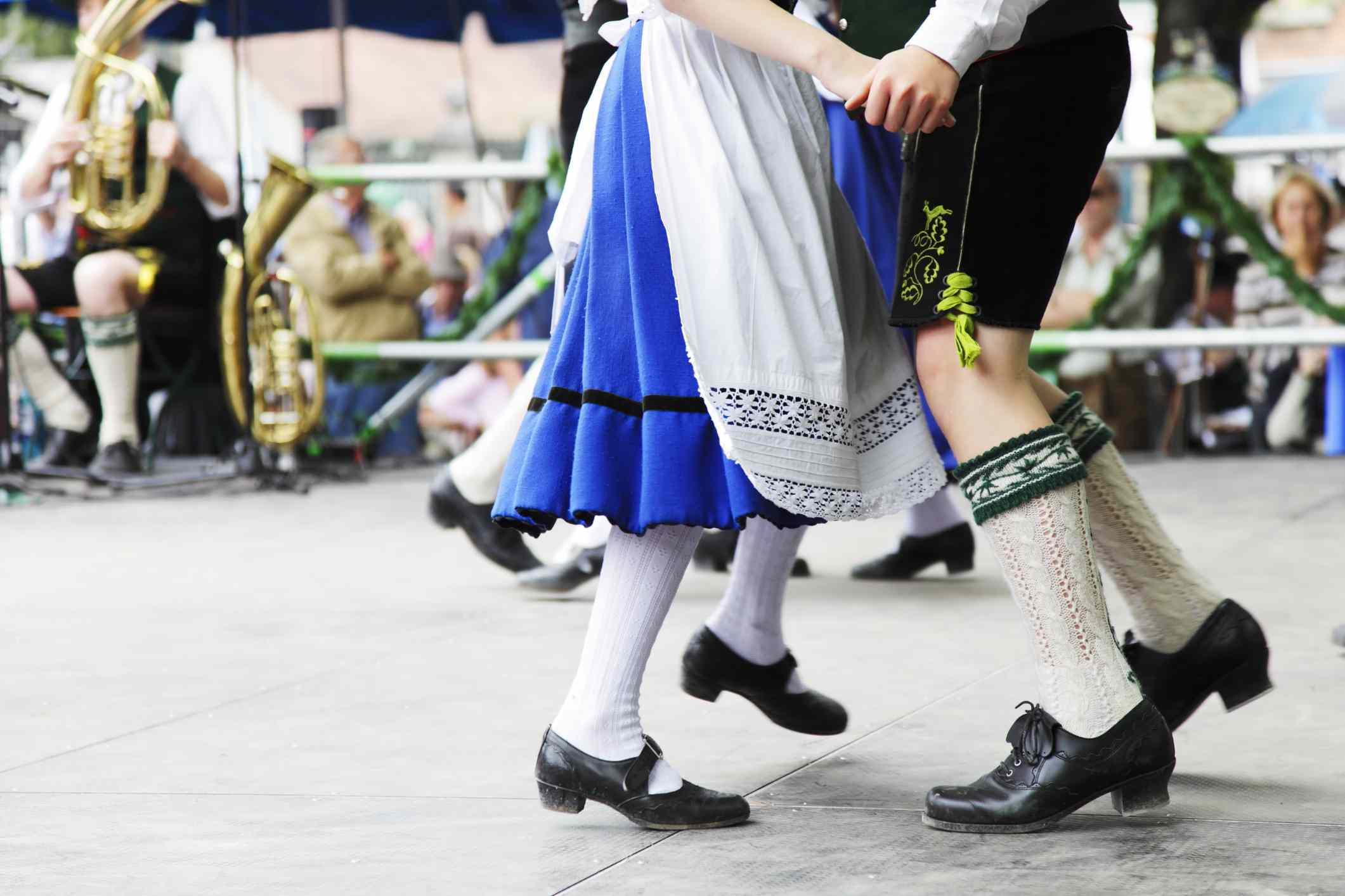 Bavarian couple perform a historical dance