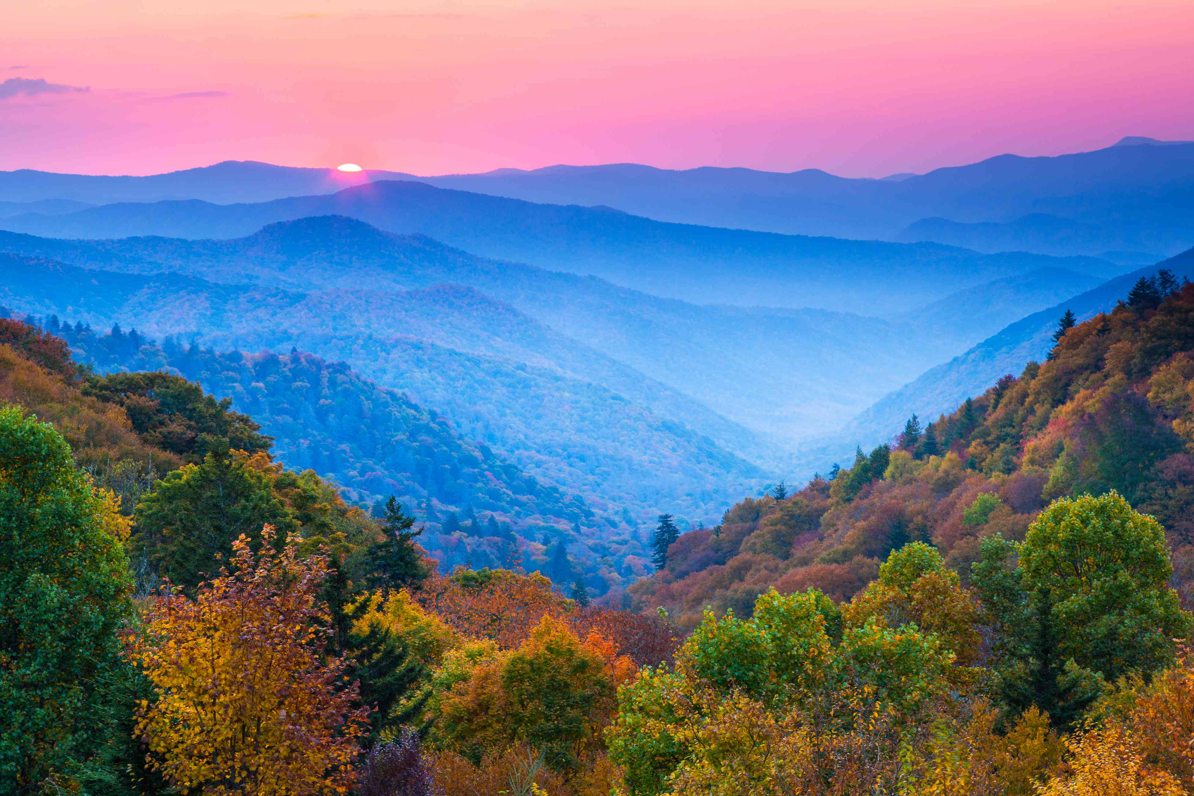 Pink and blue autumn sunrise in Great Smoky Mountains National Park