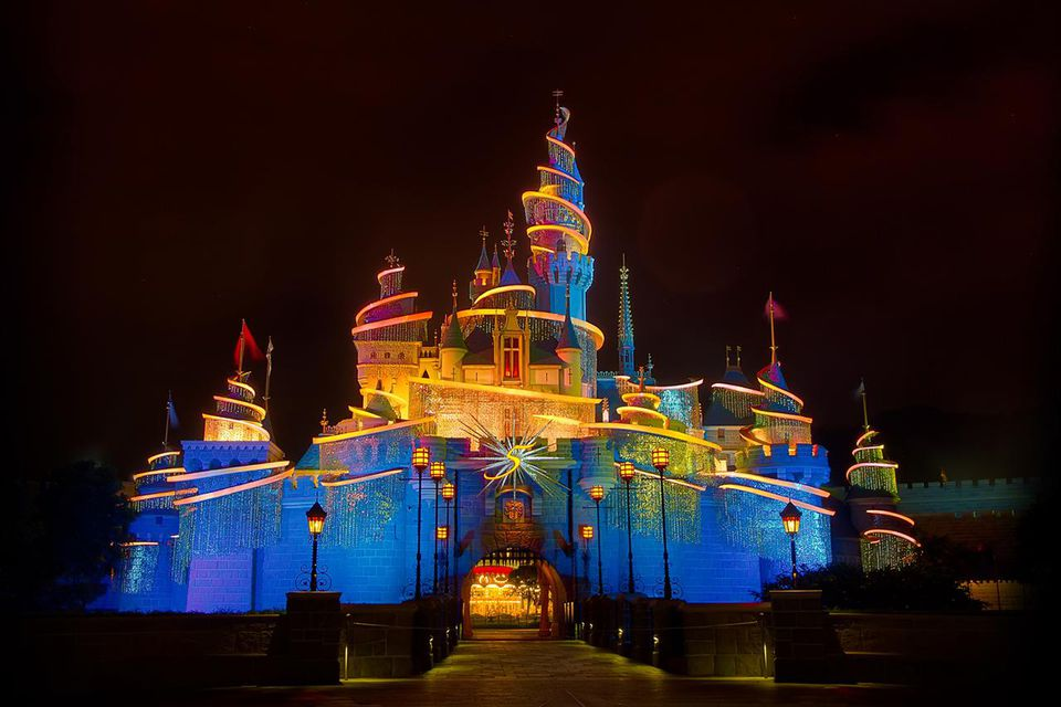 Night view of Disneyland in Hongkong.