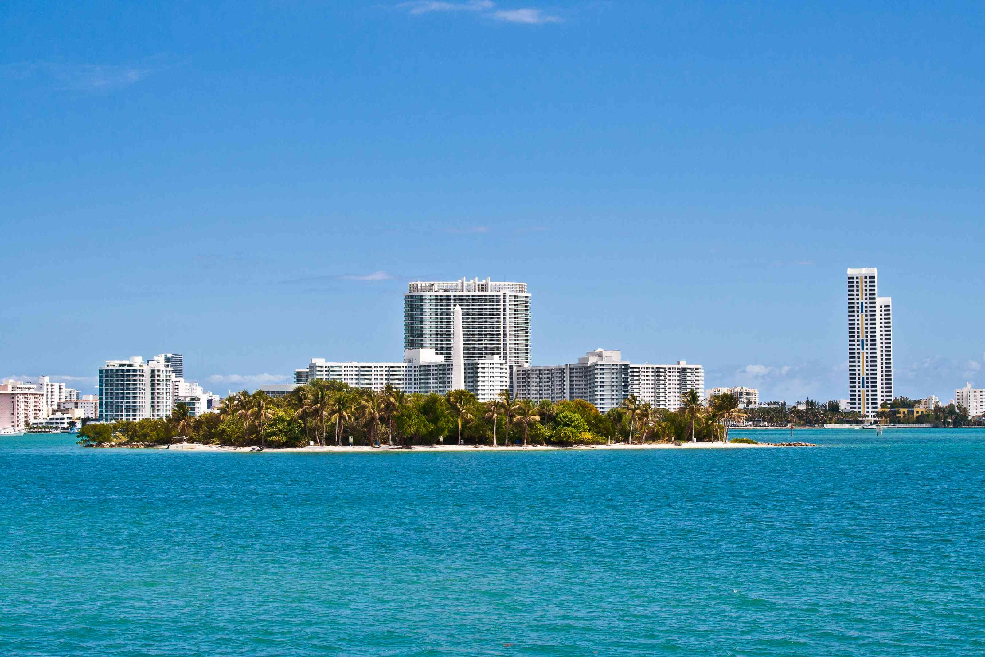Flagler Monument Island in Miami, Biscayne Bay