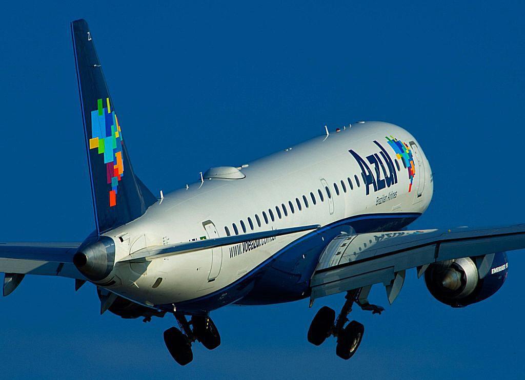 Azul airplane in flight