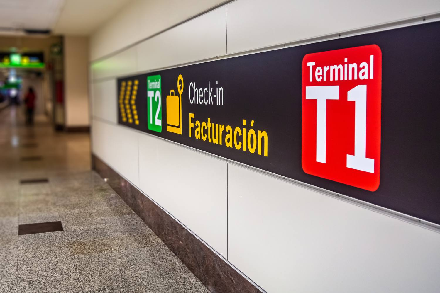Signs for guidance at Madrid airport