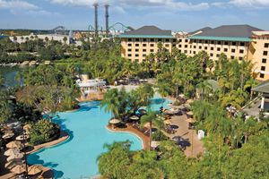Overhead view of the pool and Royal Pacific Resort