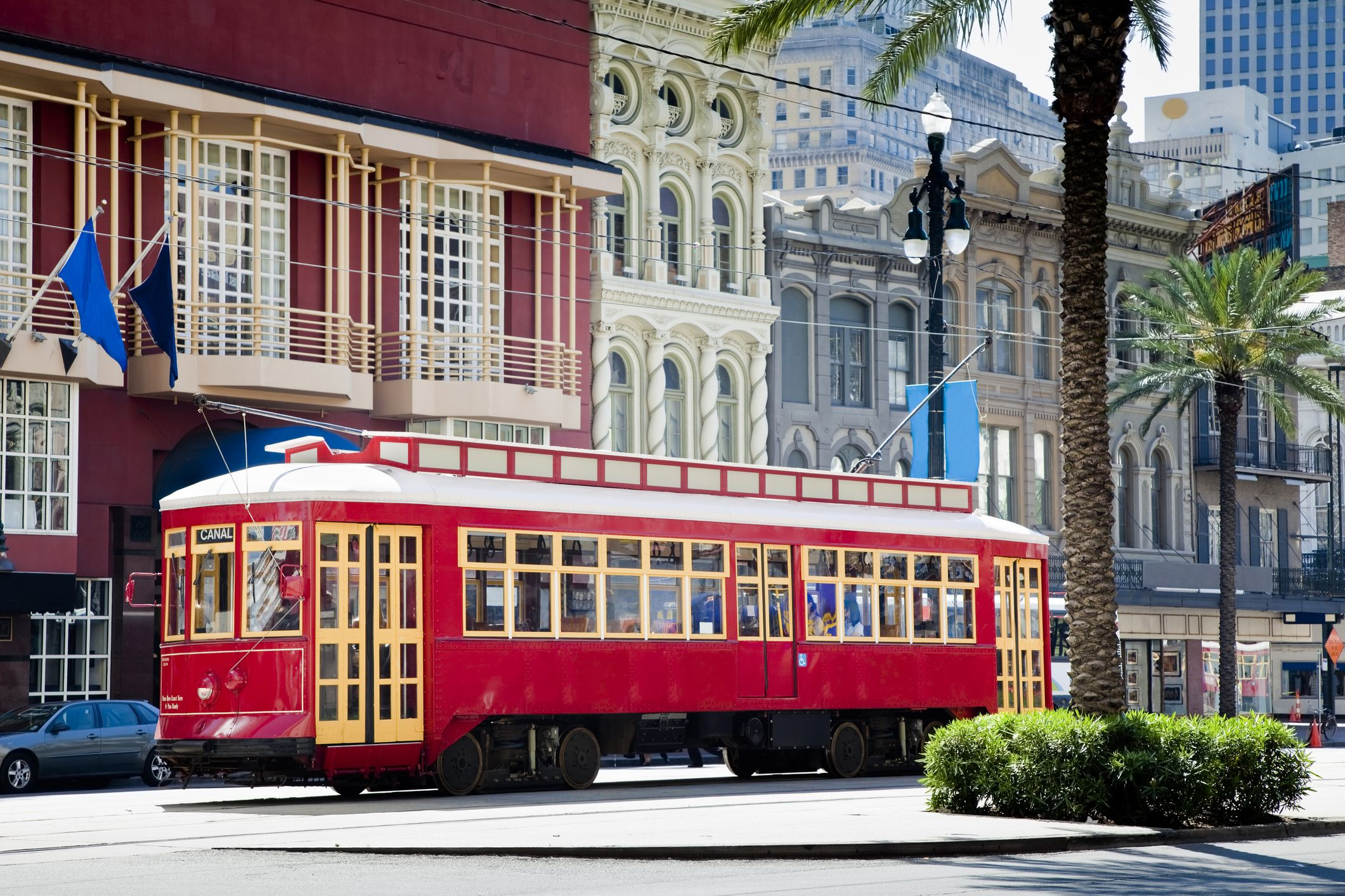 New Orleans streetcar traveling down Canal Street.