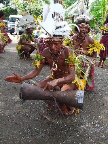 Drummer at Singsing in BilBil Village near Madang, Papua New Guinea