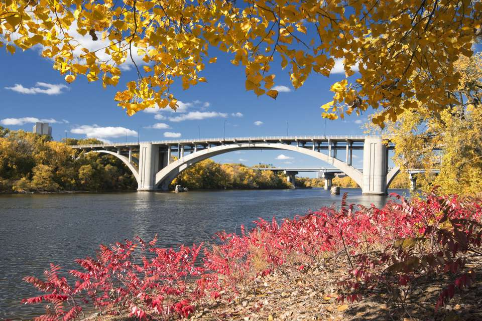 St. Paul bridge in the fall