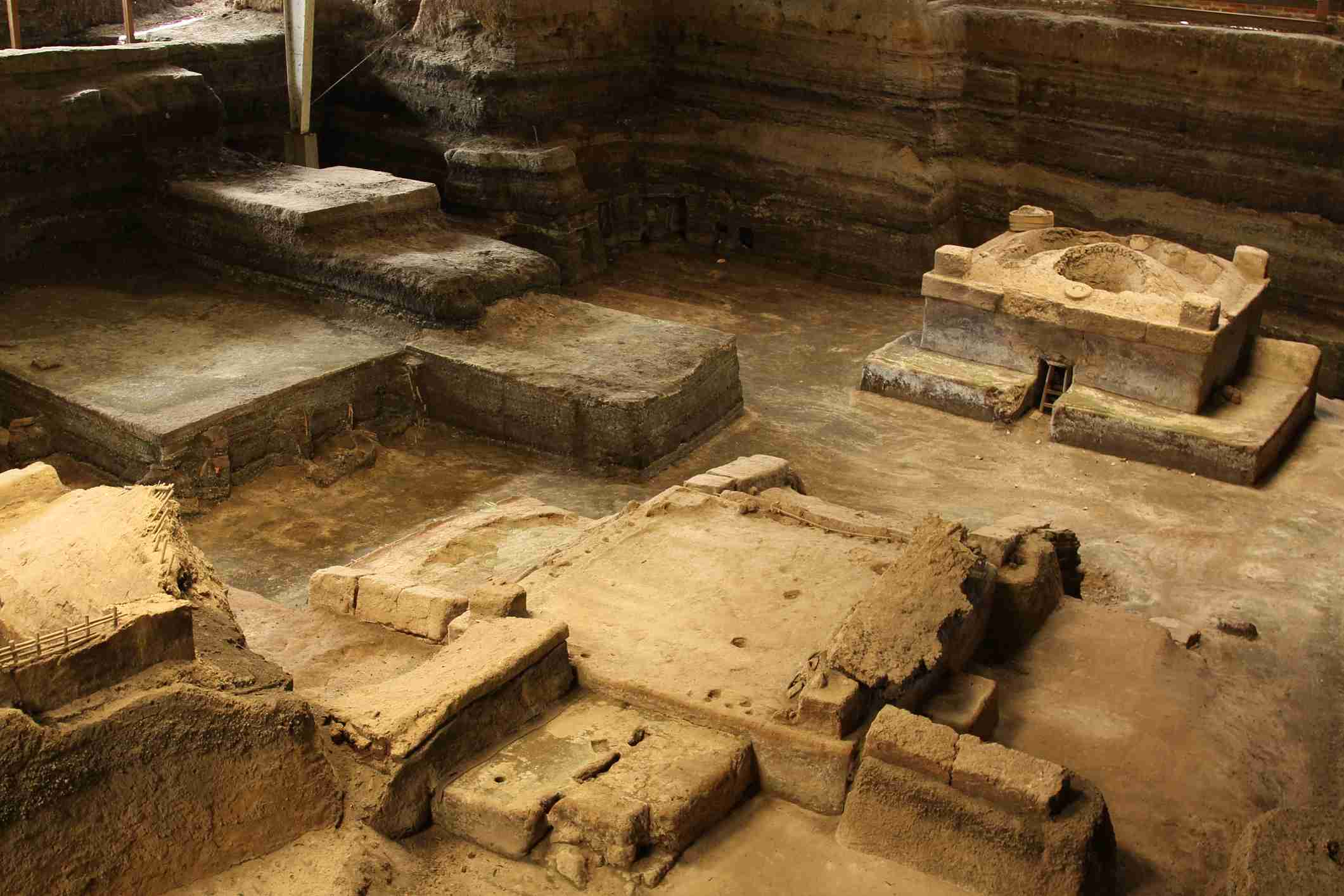 """The ruins of Joya de Ceren, a pre-Columbian Mayan village in El Salvador which was preserved under volcanic ash and is now a national archaeological site, sometimes referred to as the """"Pompeii of the Americas""""."""