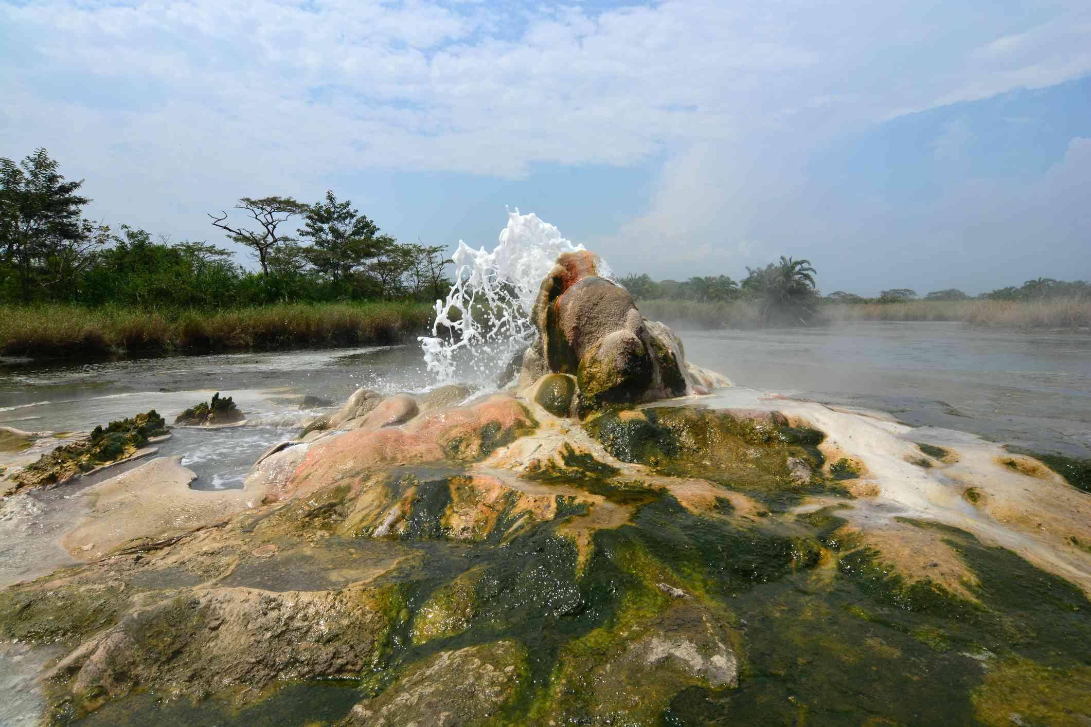 Bubbling hot springs in Semuliki National Park, Uganda