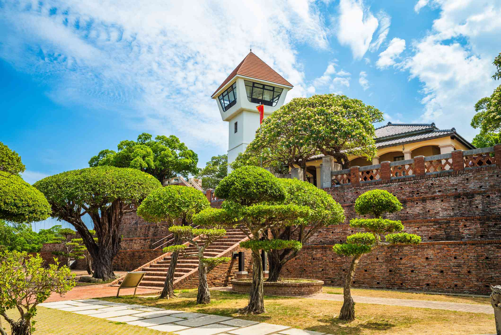 manicured trees outside of Fort Zeelandia Anping Fort) in Tainan, Taiwan