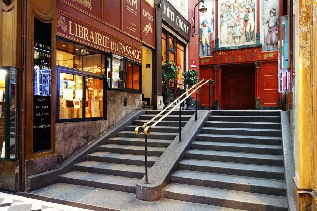 The Librairie du Passage is located right next to the Musée Grevin wax museum in Paris.