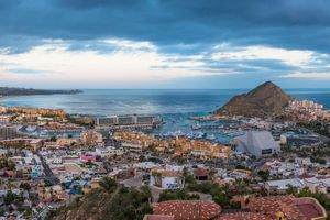 Aerial View of Cabo San Lucas town and marina