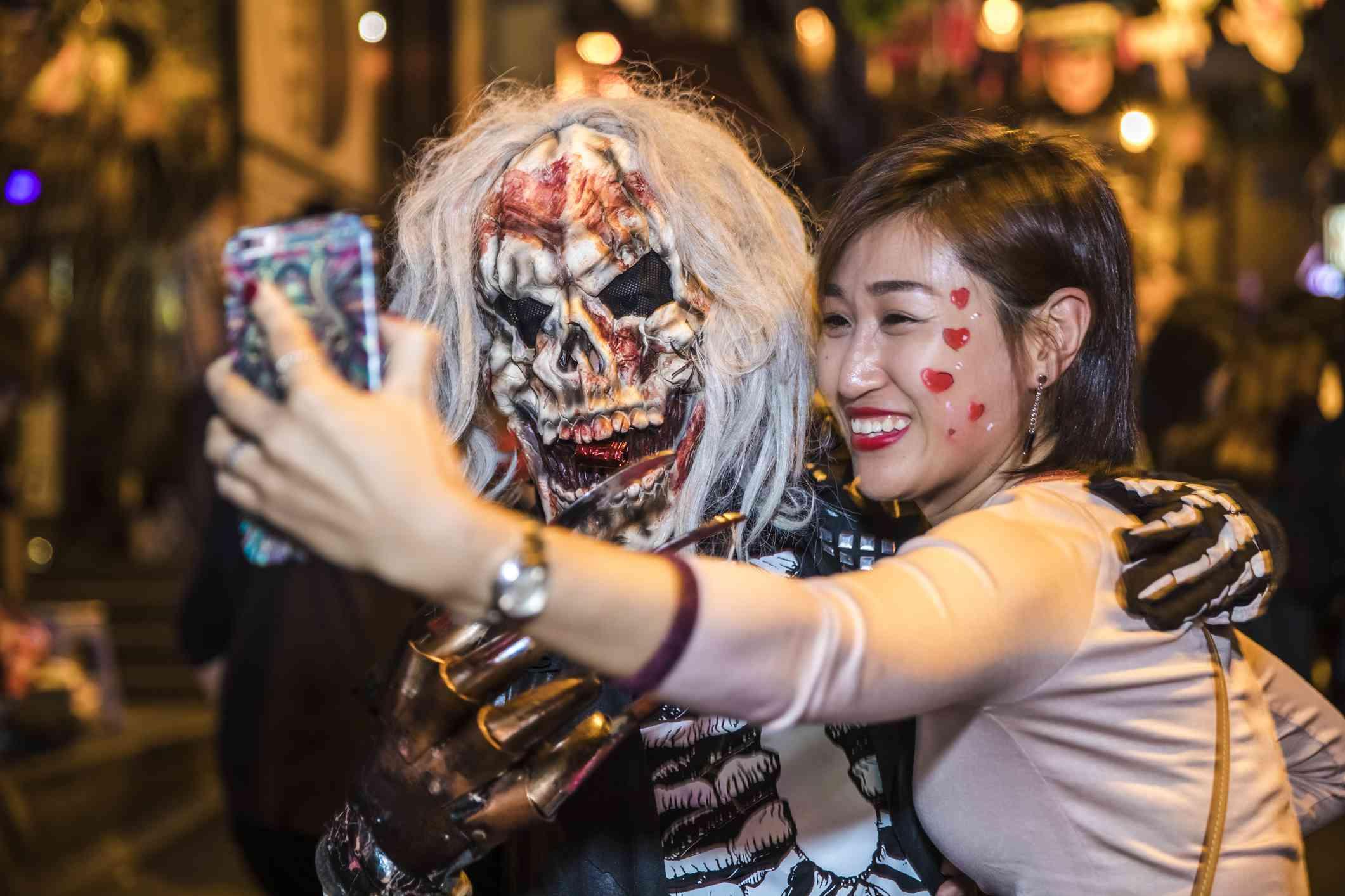 Selfie with Halloween reveler, Hong Kong