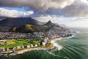 Aerial view of Cape Town with Table Mountain and Lion's Head
