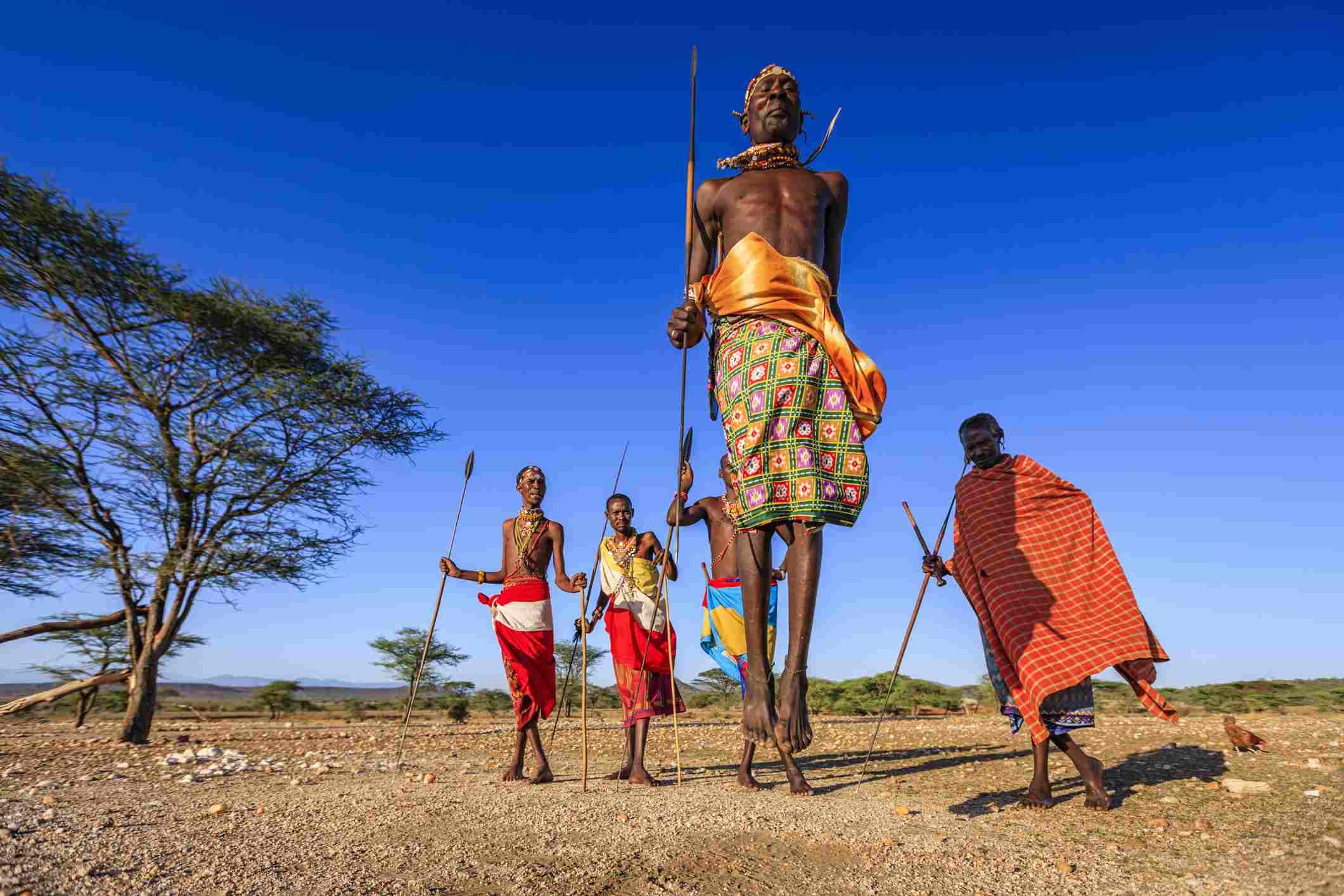 Samburu warriors performing a traditional dance, northern Kenya