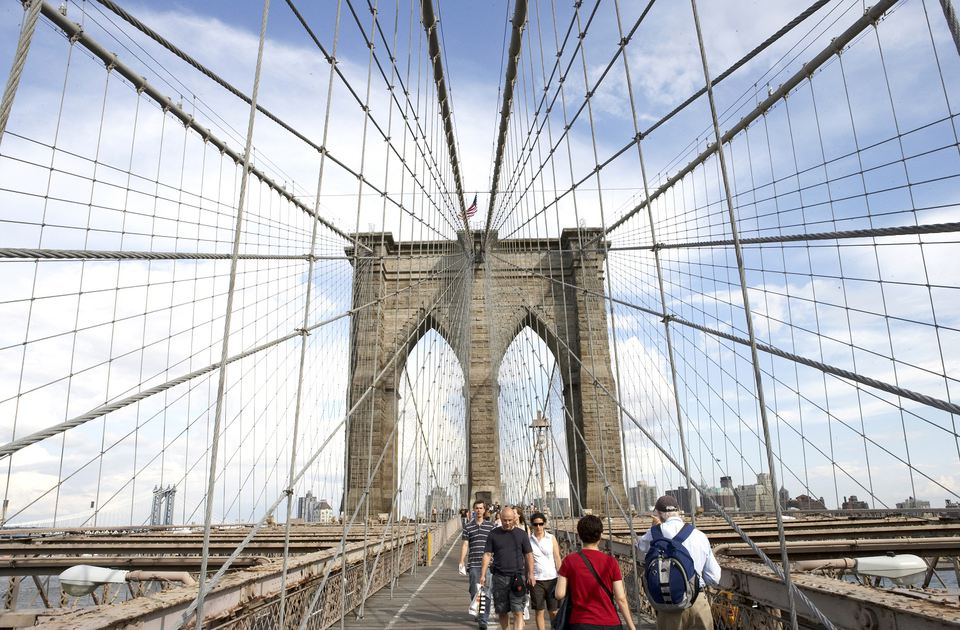 People walking on Brooklyn Bridge