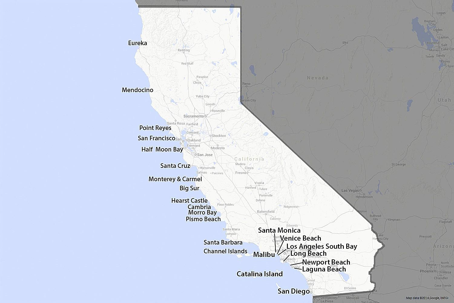 Map Of California Malibu.A Guide To California S Coast