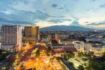Night view of Chiangmai Cityscape with Doi Suthep, Chiangmai ,Thailand.