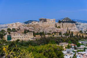 Acropolis to city of Athens, Attica, Greece