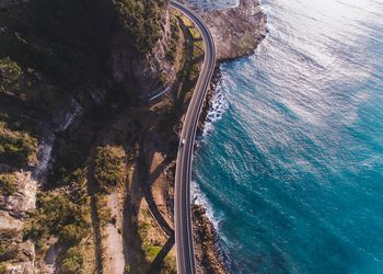 Aerial view of bridge by the sea in northern New South Wales