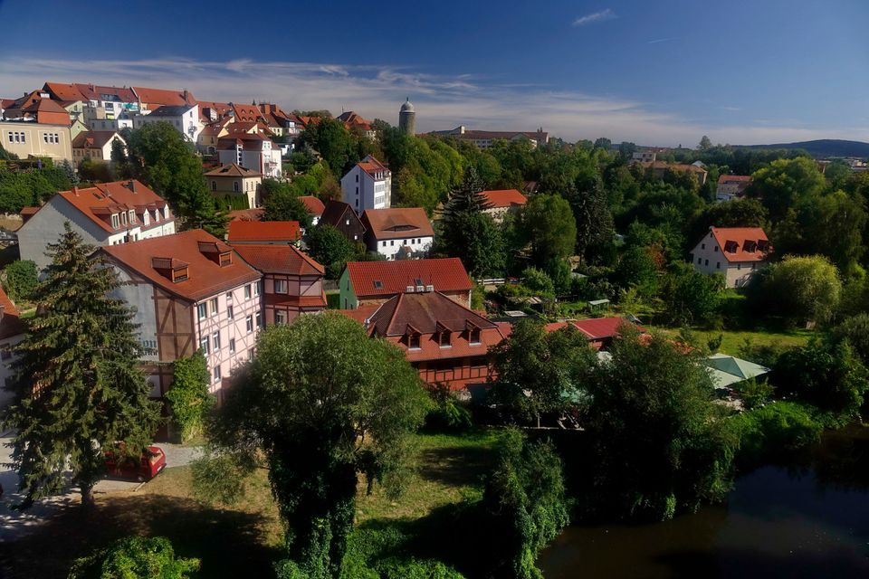 Aerial view of buildings and trees in Bautzen