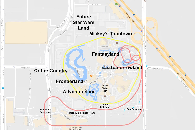 Map of Disneyland in Anaheim, California
