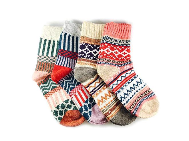 Christmas Snowflake Kids Wool Socks For Boy Girl Kid Thick Thermal Warm Cotton Winter Crew Socks 6 Pack