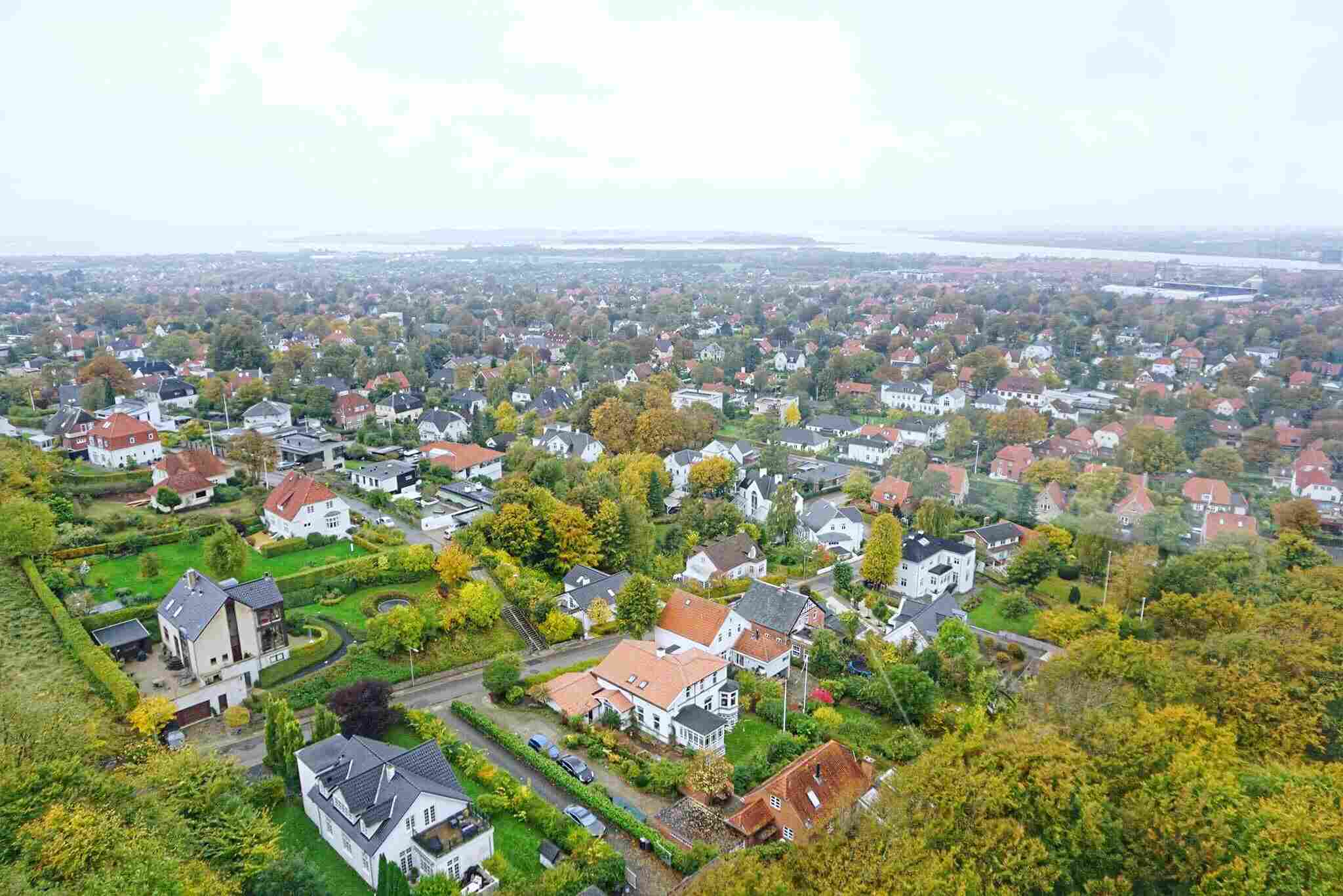 High Angle View Of Townscape Against Sky in Aalborg