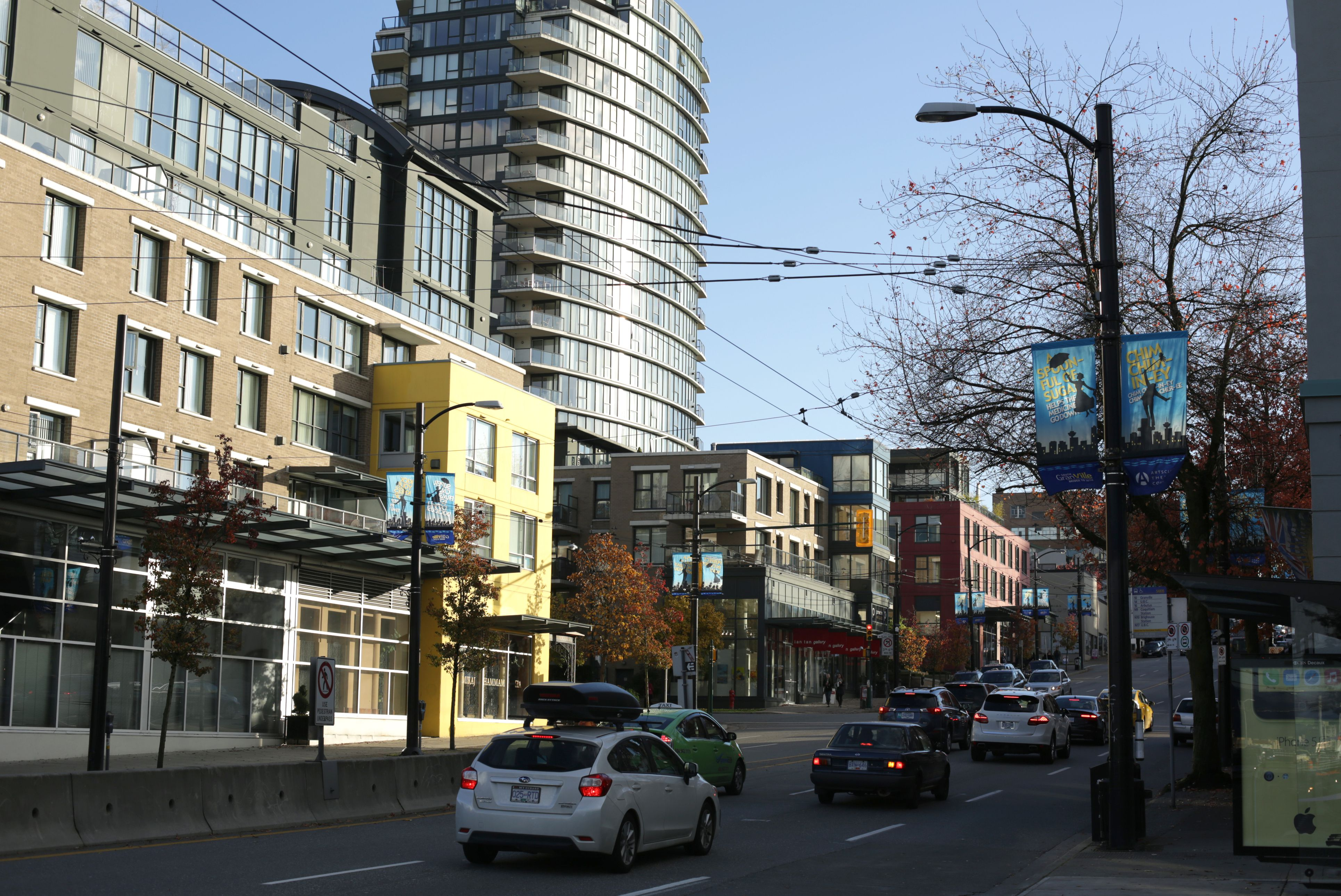 Traffic on South Granville Rise in Vancouver, Canada, Autumn Day