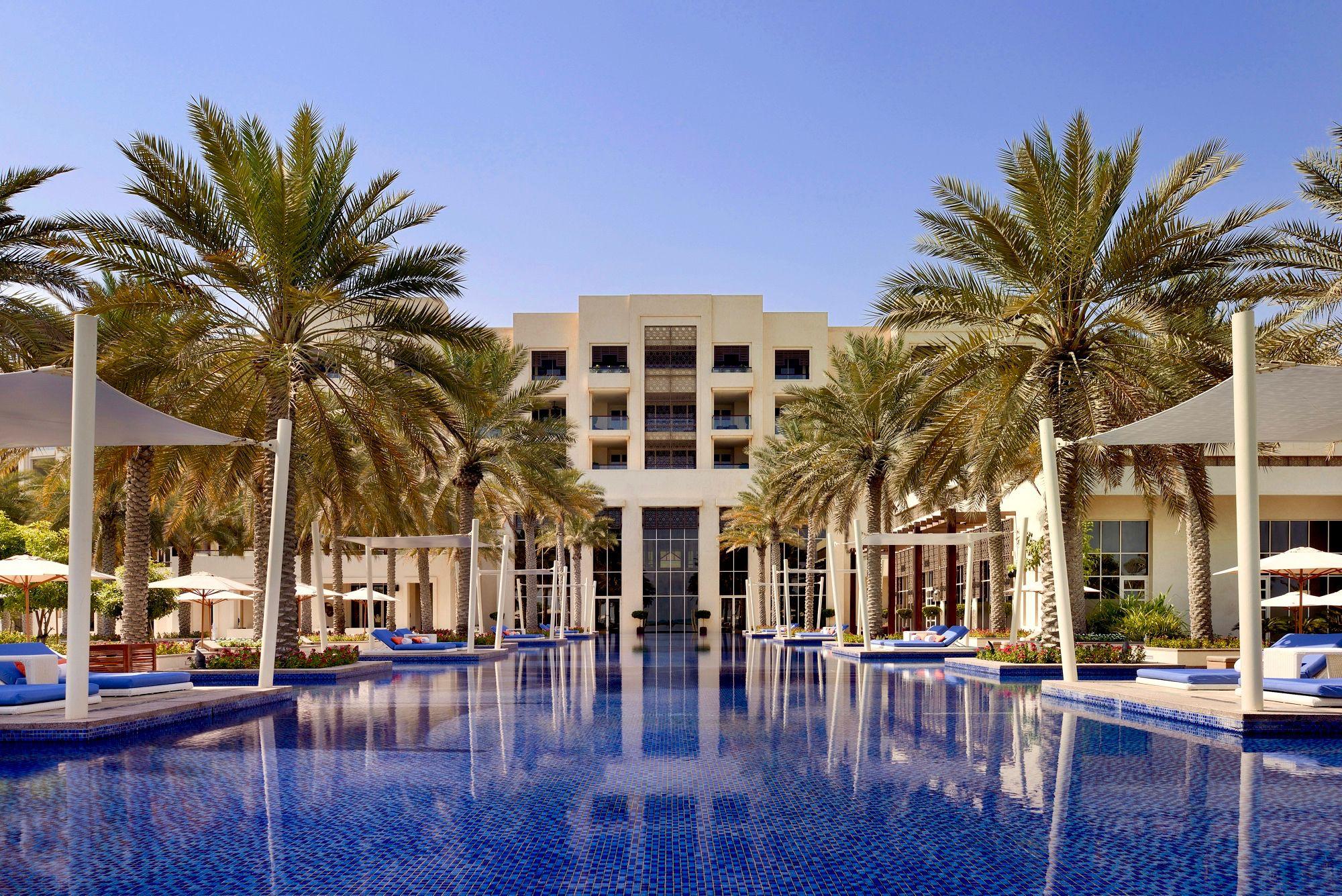 Pool at the entrance of the Park Hyatt Abu Dhabi luxury hotel