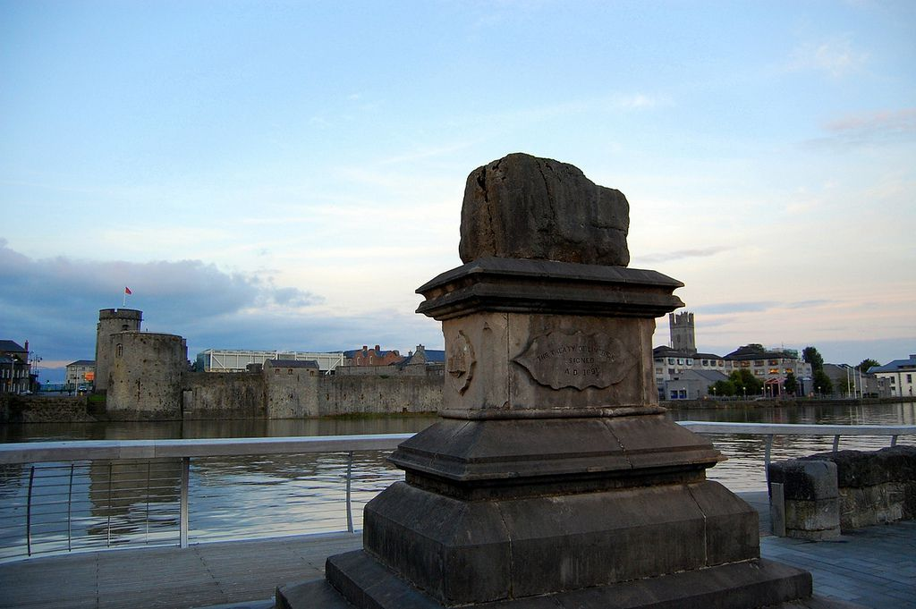 treaty stone on a pillar in Limerick Ireland