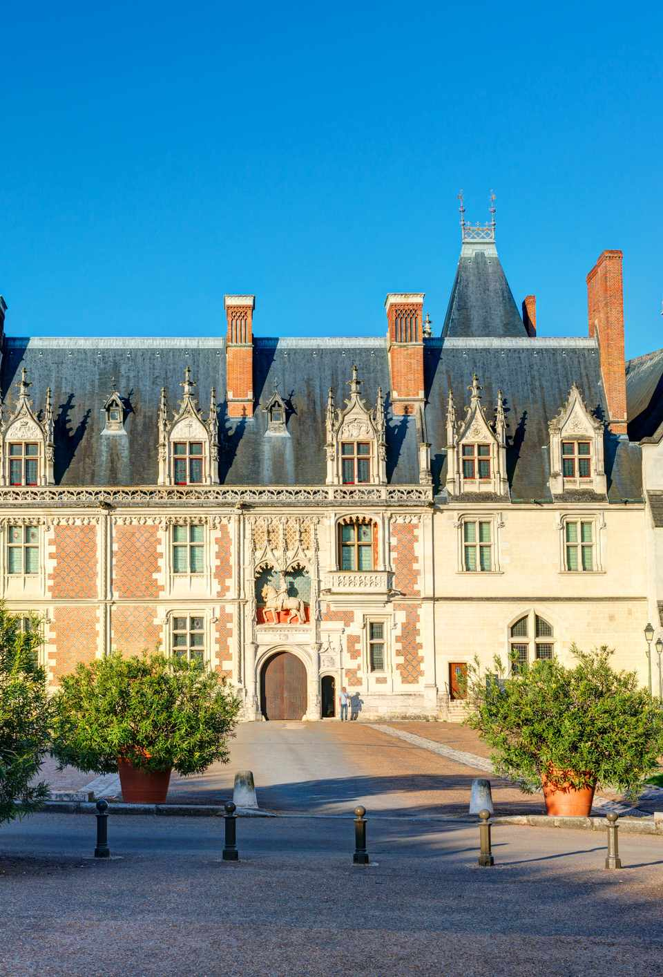 The chateau Royal de Blois: the facade of the Louis XII wing. This old palace is located in the Loire Valley in the center of the city of Blois, France.
