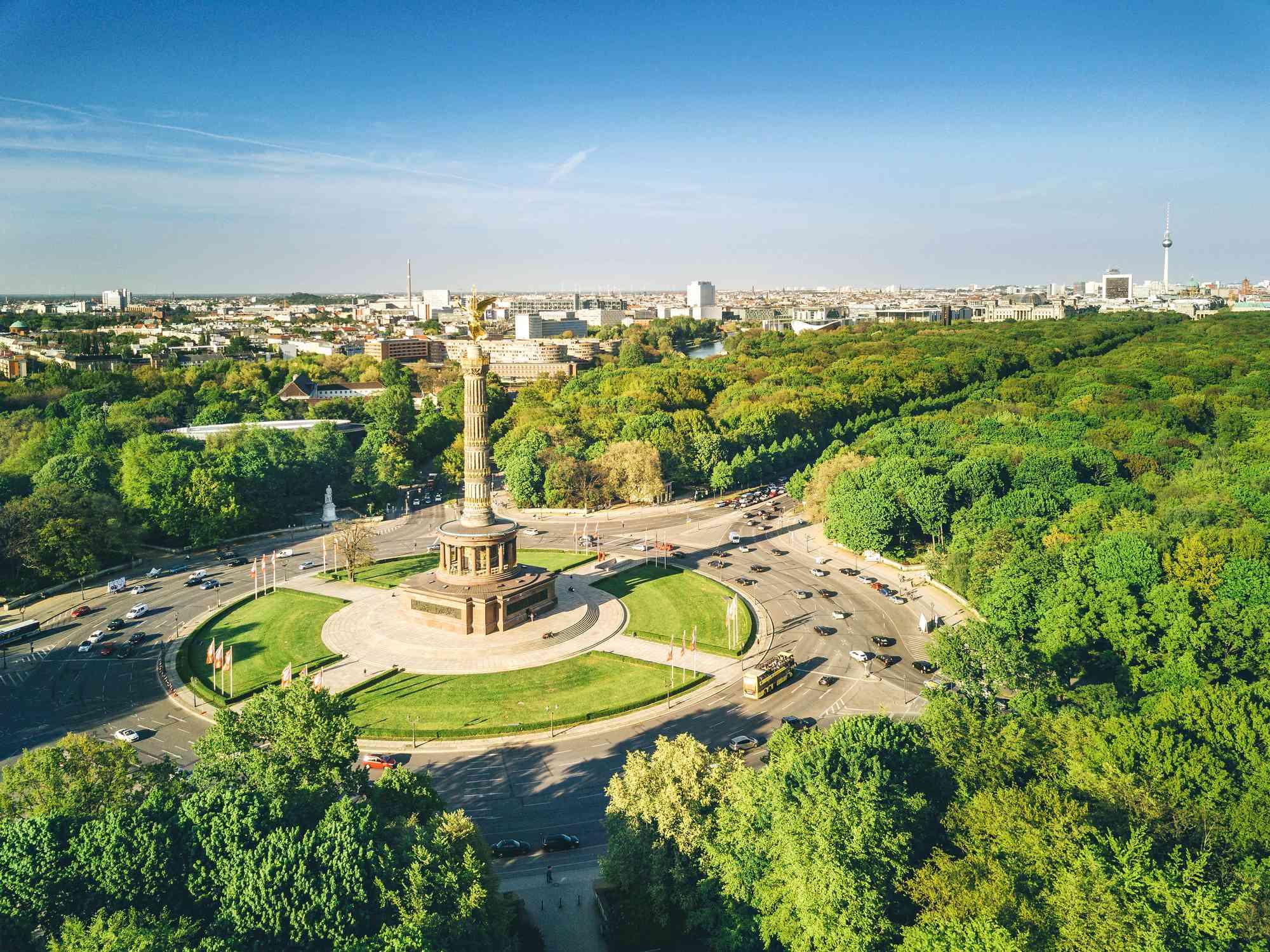Victory column and Berlin Tiergarten, Germany